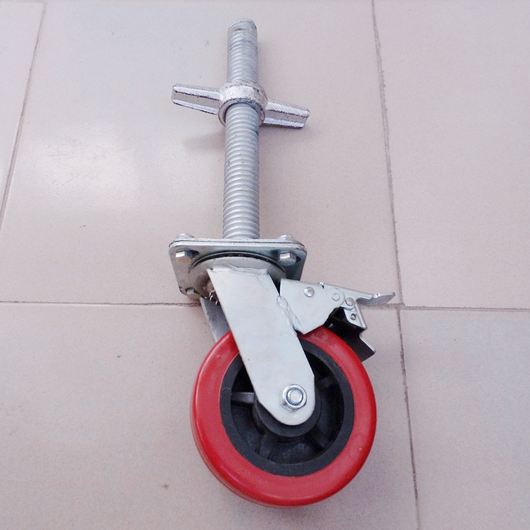 安徽滁州客户购买6寸丝杆刹车脚手架轮